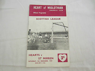 1959-60 SCOTTISH LEAGUE   HEARTOF MIDLOTHIAN v ST MIRREN