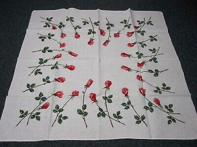 """VINTAGE WHITE LINEN TABLECLOTH with LONG STEM ROSES ~ 50"""" SQUARE"""