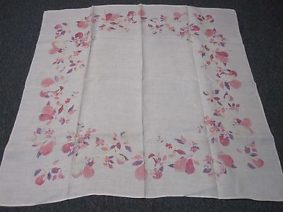 """VINTAGE SIGNED LUTHER TRAVIS WHITE LINEN TABLECLOTH with PINK FRUIT 50"""" SQUARE"""