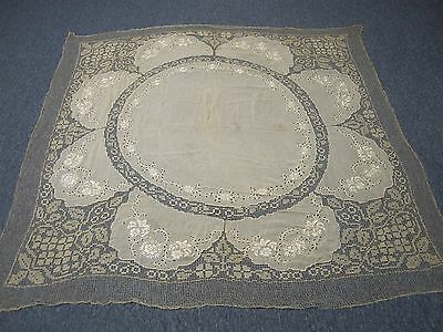 """ANTIQUE SILK TABLECLOTH with HAND EMBROIDERED FLOWERS & NET LACE 64"""" SQUARE"""