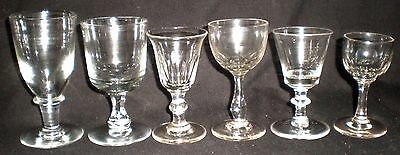 6 X Antique Victorian Drinking Glasses - Harlequin - Christmas (67)