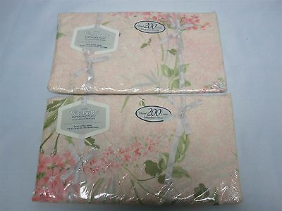 2 VTG WAMSUTTA PEACH with FLOWERS NO IRON SUPERCALE PLUS TWIN FITTED SHEETS MINT