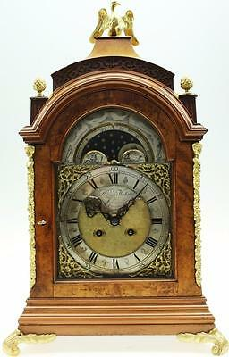 Antique Georgian Style English Burr Walnut & Bronze 8Day Moonphase Bracket Clock