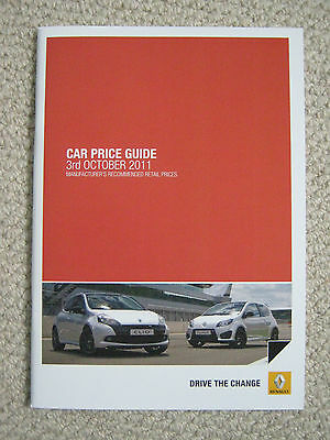 Renault Price Guide Brochure Oct 2011, includes Renaultsport models