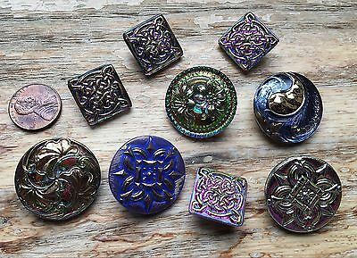 CZECH Glass Button Lot Of 9