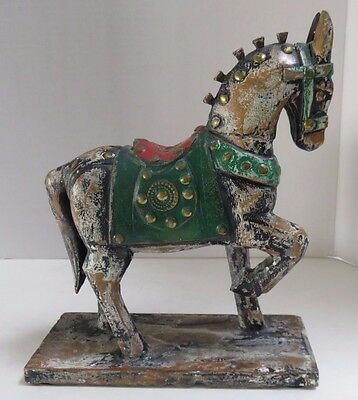 """Vintage Look Carved Wood Brass Studded Horse Hand Painted 9"""""""