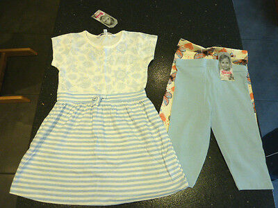 NEW Girls 3-4 years Blue Dress and 2 pc Blue / Peach Cropped Leggings set.