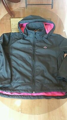 Girls black and pink wolves fc coat age 16