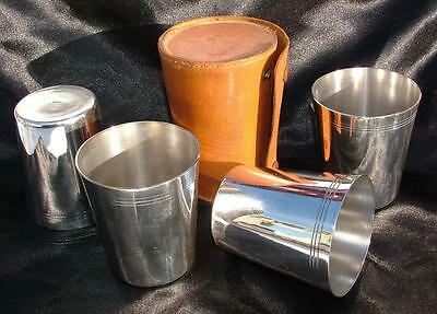 "4 x LEATHER CASED TRAVELLING STACKING 3.35"" SILVER PLATED CUPS BEAKERS - HUNTING"