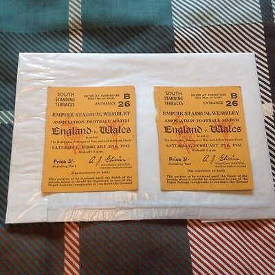 2 England V Wales Tickets Wembley Wartime 1943 Vgc!