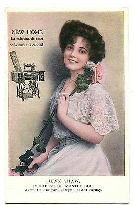 New Home Sewing Machine Trade Card, Glamour Uruguay Montevideo