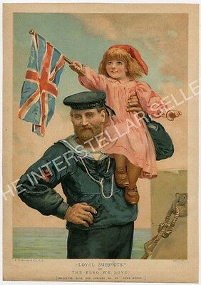 "Antique WWI British Navy Color Lithograph ""LOYAL SUBJECTS"", Girl w/ Union Flag!"