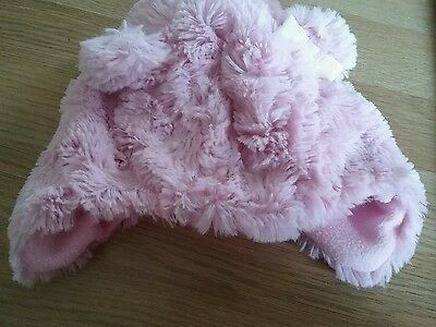 pretty pink baby girls soft warm hat fleece lined little ears with bow 0-3 month