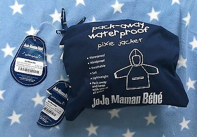 JoJo Maman Bebe Packaway pixie Navy Waterproof jacket  2-3 Years BNWT RRP£24