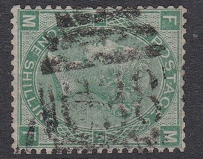 GB used abroad in CALLAO PERU C38 1/- 1 shilling green plate 5 good