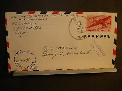USS COMANCHE WPG-76 Naval Cover 1944 Censored WWII Sailor's Mail USCGC