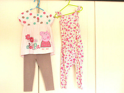 2 x GIRLS 2-3 Yrs PEPPA Pig 2pc Outfit & Pink all in one Jumpsuit