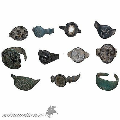 Collection Of 11 Roman To Crusaders Period Head Of Rings , Include Seals