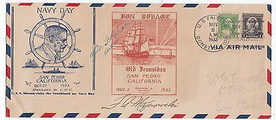 US Frigate Constution Old Ironsides 1933 Crobsy cover Signed by Artist