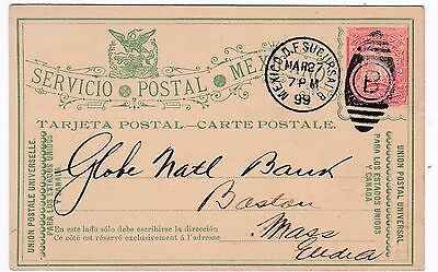 Mexico American Surety Bank 1899 Postal Stationery Card to US