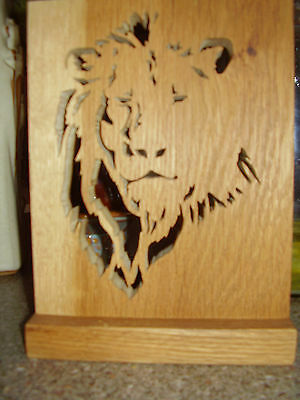 Carved Wooden Lion Plaque