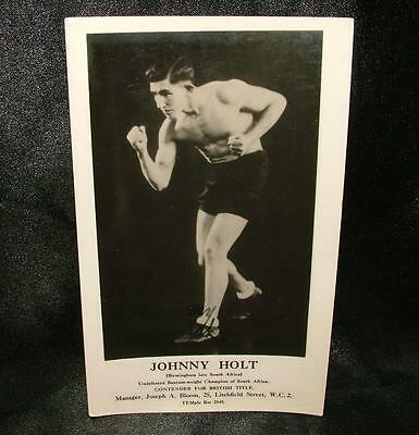 Signed Autographed Boxing Photograph Postcard Johnny Holt Featherweight - Lot 12