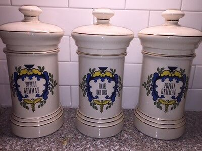 "Set of 3 Antique French Apothecary Jars 1800's Fine Porcelain 12"" H"