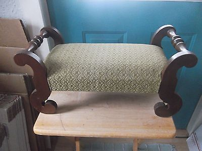 Vintage Green Upholstered Small Foot Stool with Wooden Legs