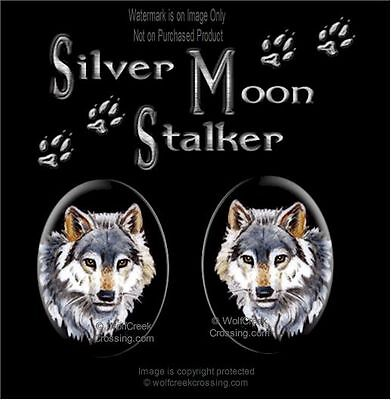 Silver Moon Stalker Wolf Earrings - Wolves Wildlife Art Post Pierced - Free Ship