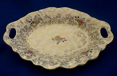 James Kent Staffordshire ~* Embassy *~ Gilded Rose Chintz Handled Display Dish