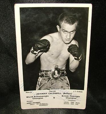 Signed Autographed Boxing Photograph Postcard Johnny Caldwell Bantam - Lot 33