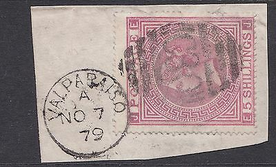 GB used abroad in VALPARAISO CHILE C30  5/- dp rose with dated CDS tied to piece