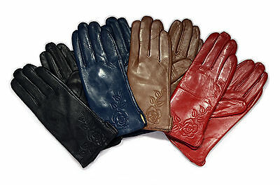 Ladies Soft Genuine Leather Fur Lined wrist Gloves Medium or Large flower detail