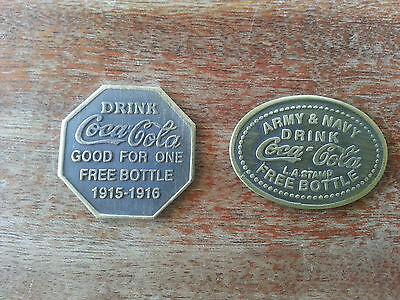 Pair Coca-Cola Advertising Tokens Army & Navy Token Free Bottle Coin 1915-16