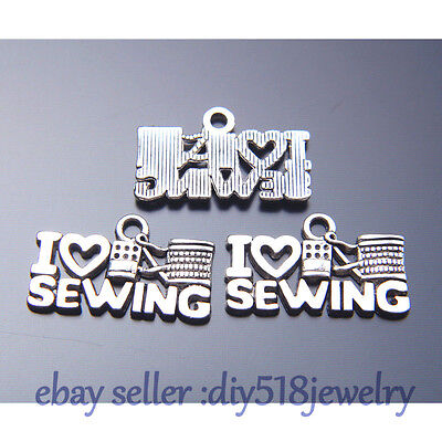20 pieces 21*12mm I Love Sewing Charms Tibetan Silver Jewelry DIY Necklace B7531