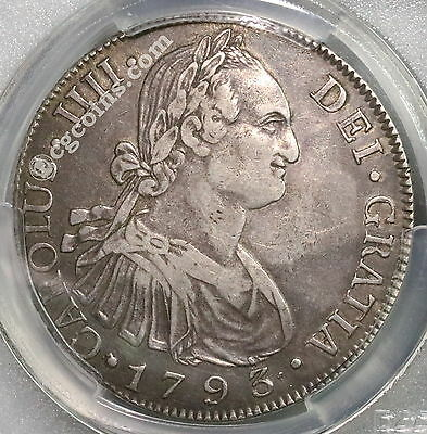 1793 PCGS VF 35 GUATEMALA Silver 8 Reales Spain Colony Coin (16120402C)