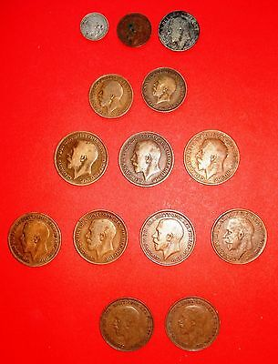 Selection of 26 British coins from reigns of George III; Edward VII; George V