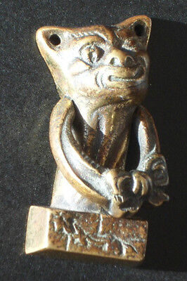 Vintage 'Cheshire Cat' 'Winking Cat' Brass Door Knocker