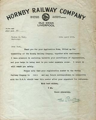 HORNBY RAILWAY COMPANY Original LETTER 1933 Liverpool