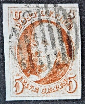 U.S.Stamps:Scott#1, 5c, Red  Brown, The First  Official issue of 1847