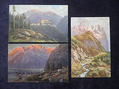 3 Old Postcards By S. Hildesheimer & Co With Mountains, Alpine Views, Wetterhorn