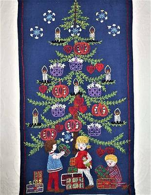 "Christmas Tree Sampler 24"" Vintage Finished Completed Wall Art Hand Embroidery"