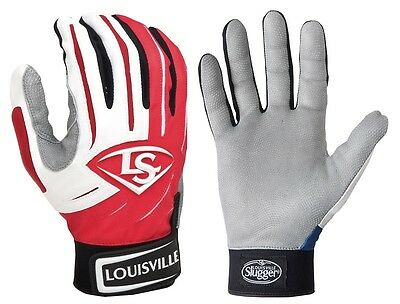 1 pr Louisville Slugger BGS714 Adult Large Red / White Series 7 Batting Gloves
