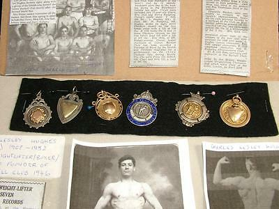 9ct GOLD & SILVER MEDALS CHARLES HUGHES 1908-1952 CHAMPION CREWE BARBELL CLUB