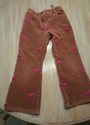 Girls size 5 Lilly Pulitzer Brown corduroy pants w/ pink horses