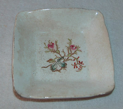 Early Antique Bridgwood Small Square Plate - Porcelaine Opaque