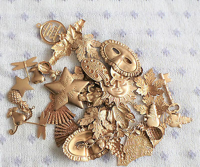 Huge Mixed Lot Vintage Brass Stampings  Unused Old Stock Jewelry Findings Crafts