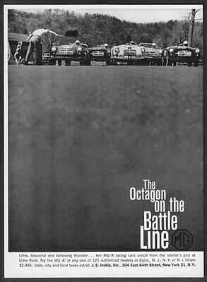 "1960 MG MGA Racers at Starting Line photo ""The Octagon on Battle Line"" print ad"