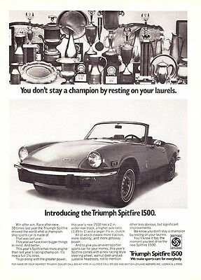 "1973 Triumph Spitfire 1500 Convertible photo ""Introductory"" promo print ad"