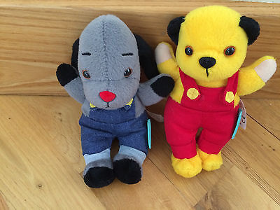 Sooty & Sweep from sooty beanie soft toy by Golden Bear products Ltd VGC